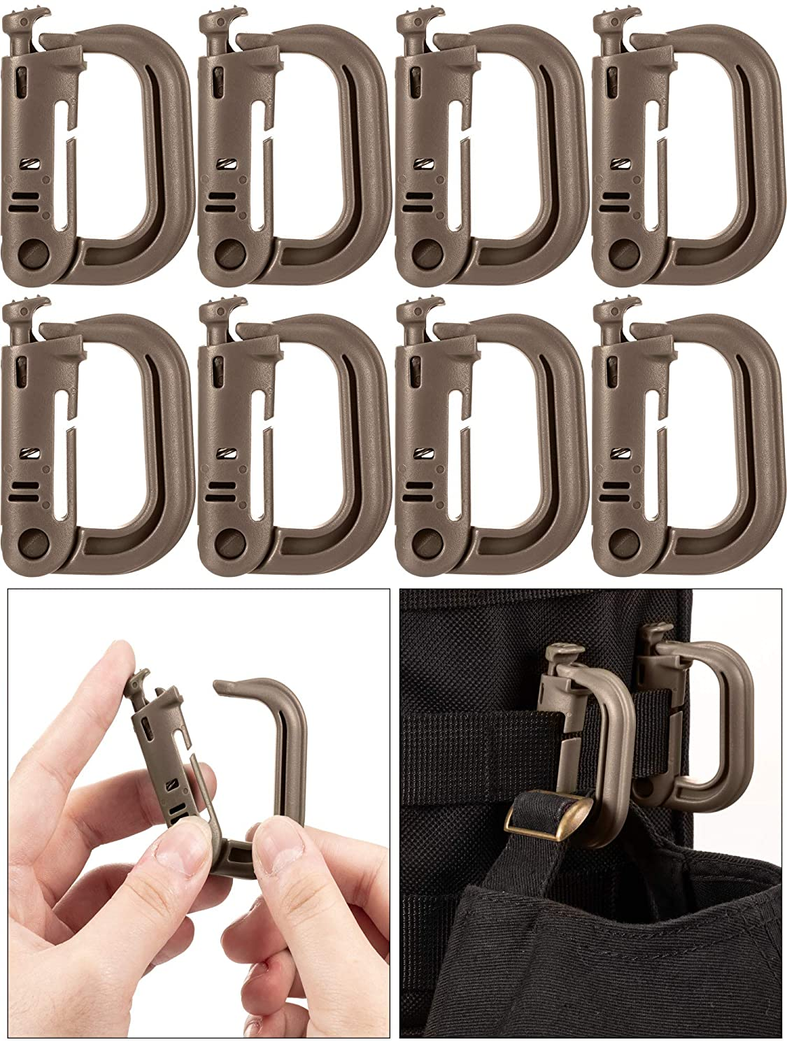 30 Pieces Tactical Gear Clip Strap D Ring Hook Tactical Vest Belt for Molle Backpack Webbing Attachments
