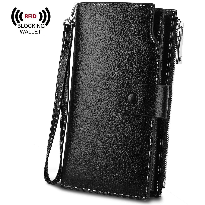 YALUXE Women's RFID Blocking Large Capacity Luxury Wax Genuine Leather Clutch Wallet Multi Card Organizer RFID Black 11002152-2