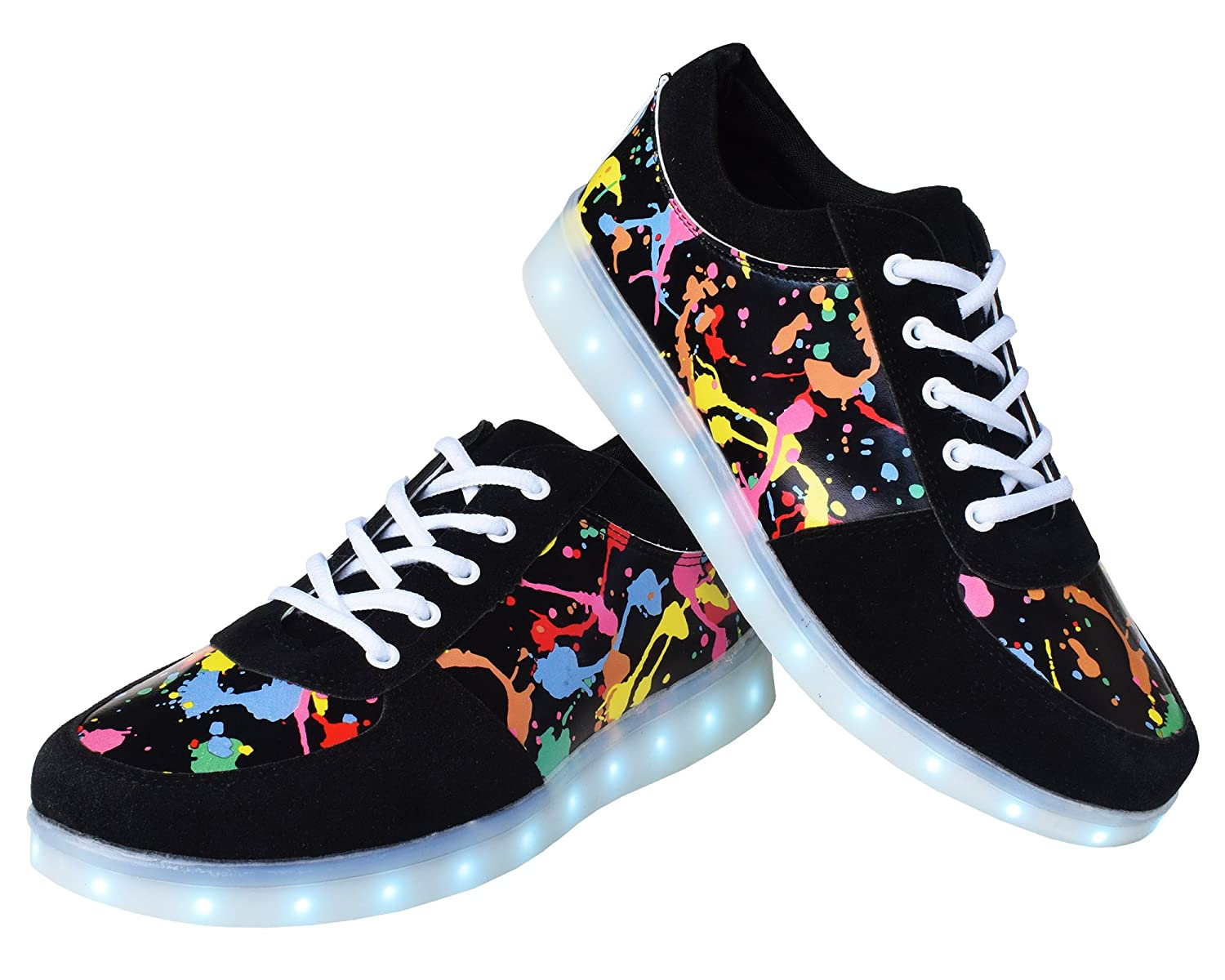 3513eced24ea QOUJEILY Men Women USB Charging LED Light up Shoes Fashion Flashing Sneakers  Graffiti Printing Shoes (5 B(M) US Women 3.5 D(M) US Men
