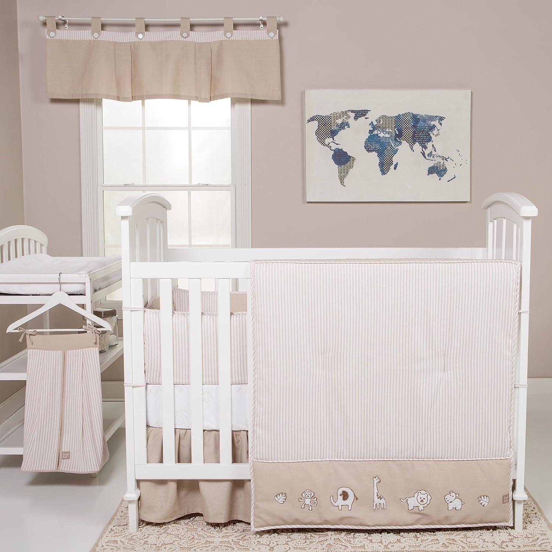 Trend Lab Quinn 3-Piece Crib Bedding Set, Tan/White 101130