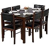 DeckUp Ceylon Six Seater Dining Table Set (Rubberwood, Wenge)