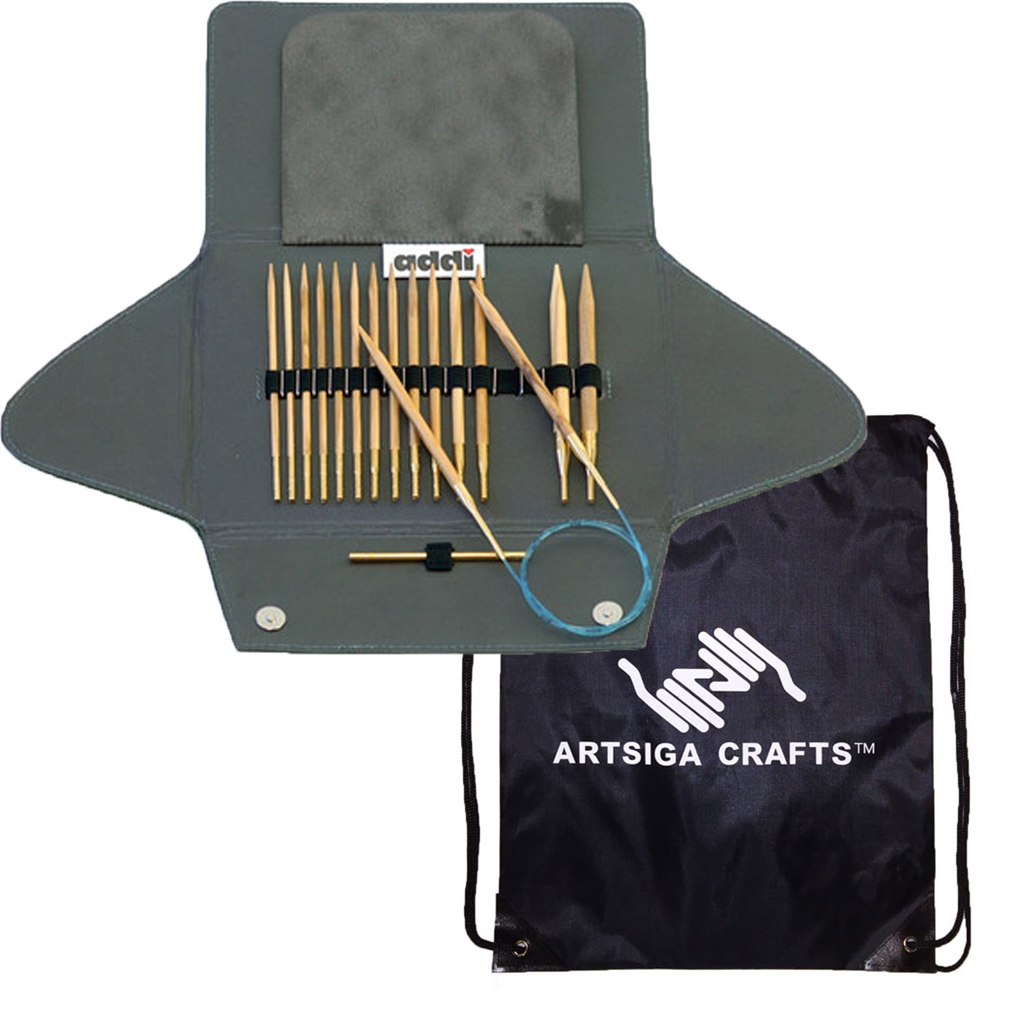 addi Knitting Needles Click Olive Wood Interchangeable System with Skacel Exclusive Blue Cords Bundle with 1 Artsiga Crafts Project Bag