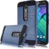 Moto X Pure Edition Case,Kmall [Metal Brushed Texture] Slim Impact Resistant Heavy Duty Hybrid Dual Layer Full-Body Shockproof Protective Cover Shell For Moto X Pure Edition / Moto X Style [Navy Blue]