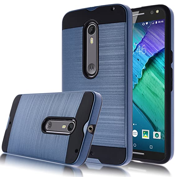 on sale b978b 590a7 Moto X Pure Edition Case,Kmall [Metal Brushed Texture] Slim Impact  Resistant Heavy Duty Hybrid Dual Layer Full-Body Shockproof Protective  Cover Shell ...