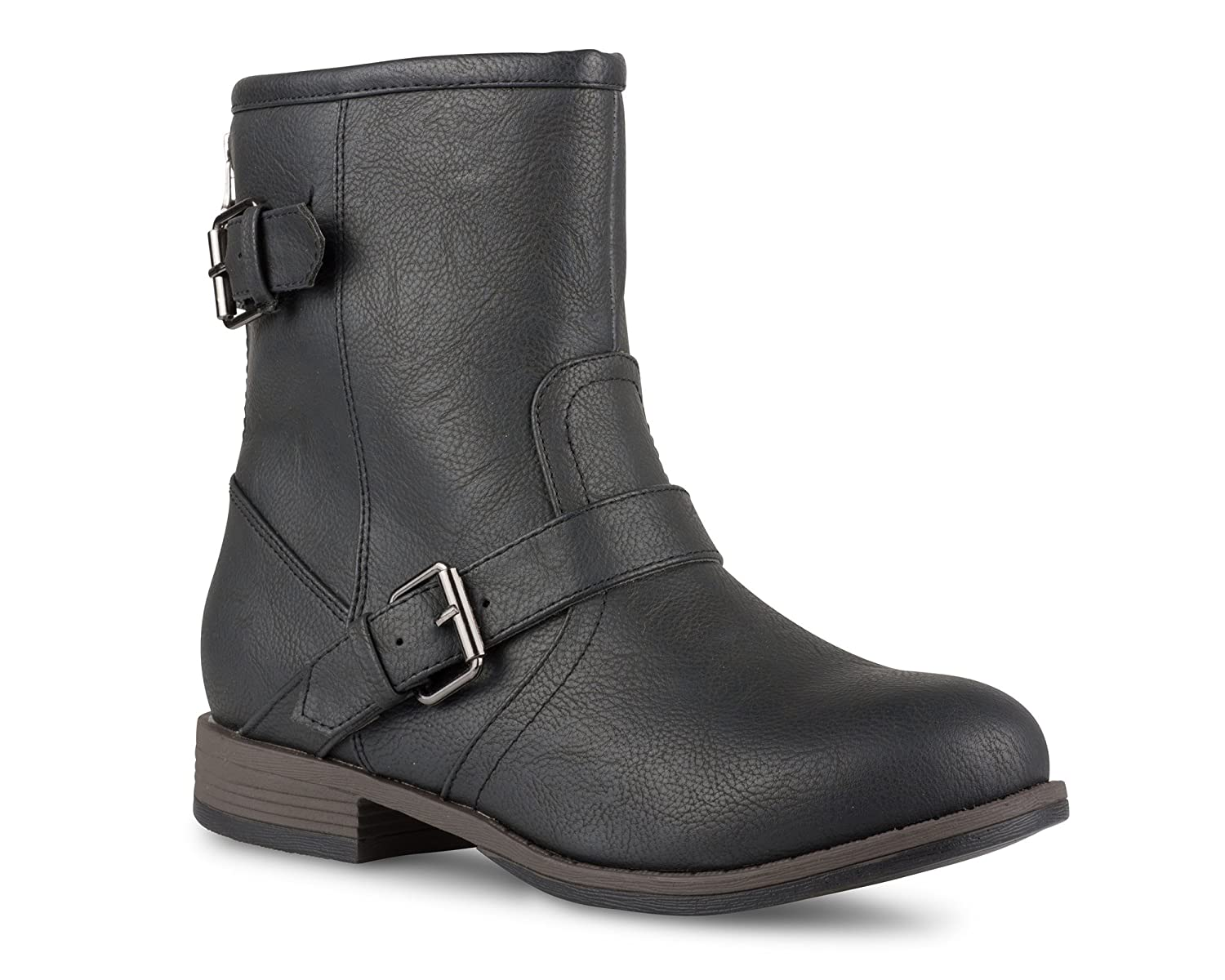 Twisted Womens Amira Short Buckle Strap Zip-Up Motorcycle Boot
