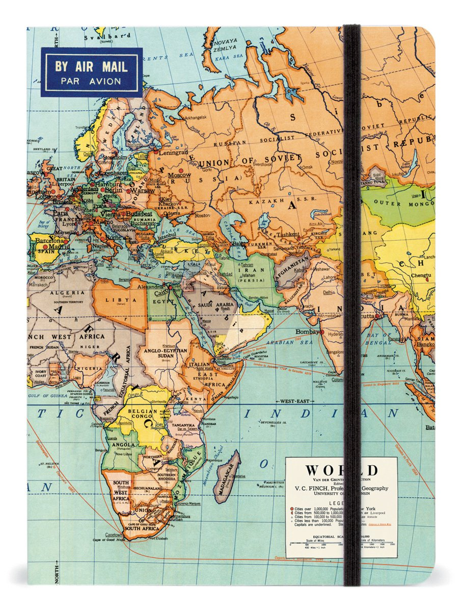 Cavallini 6 by 8-Inch Notebook, World Maps, 144 Pages