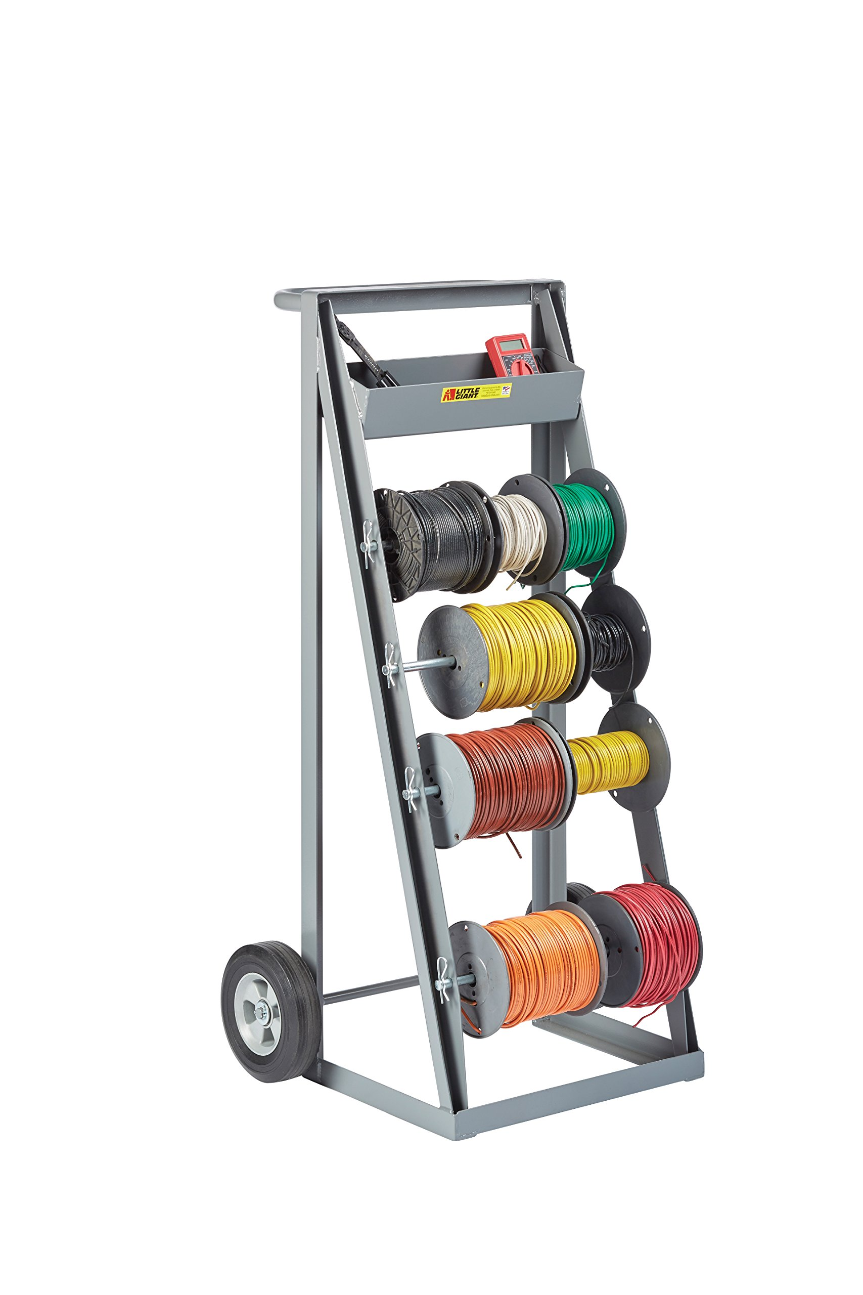 Little Giant RT4-8S Bulk Handling Wire Reel Caddy with Full Width Handle and Convenient Tool Tray, Gray Finish