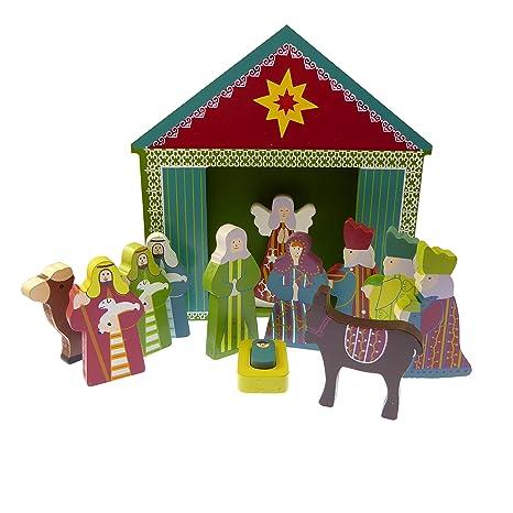 Amazon.com: Los niños de la Navidad Belén Set Adorno Madera ...