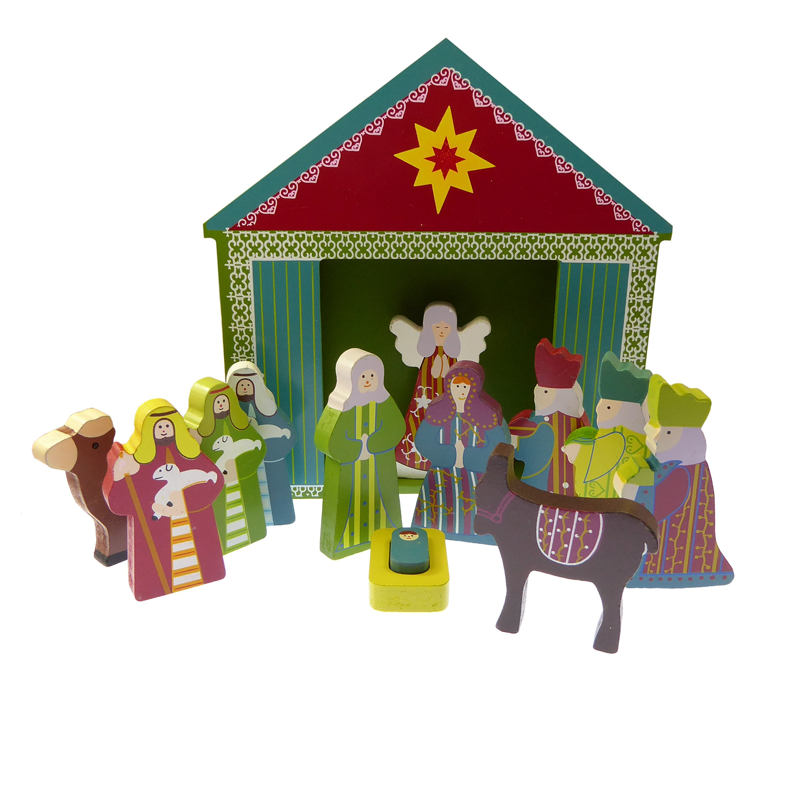 Children's Christmas Nativity scene set ornament wood shed Jesus 13 pieces
