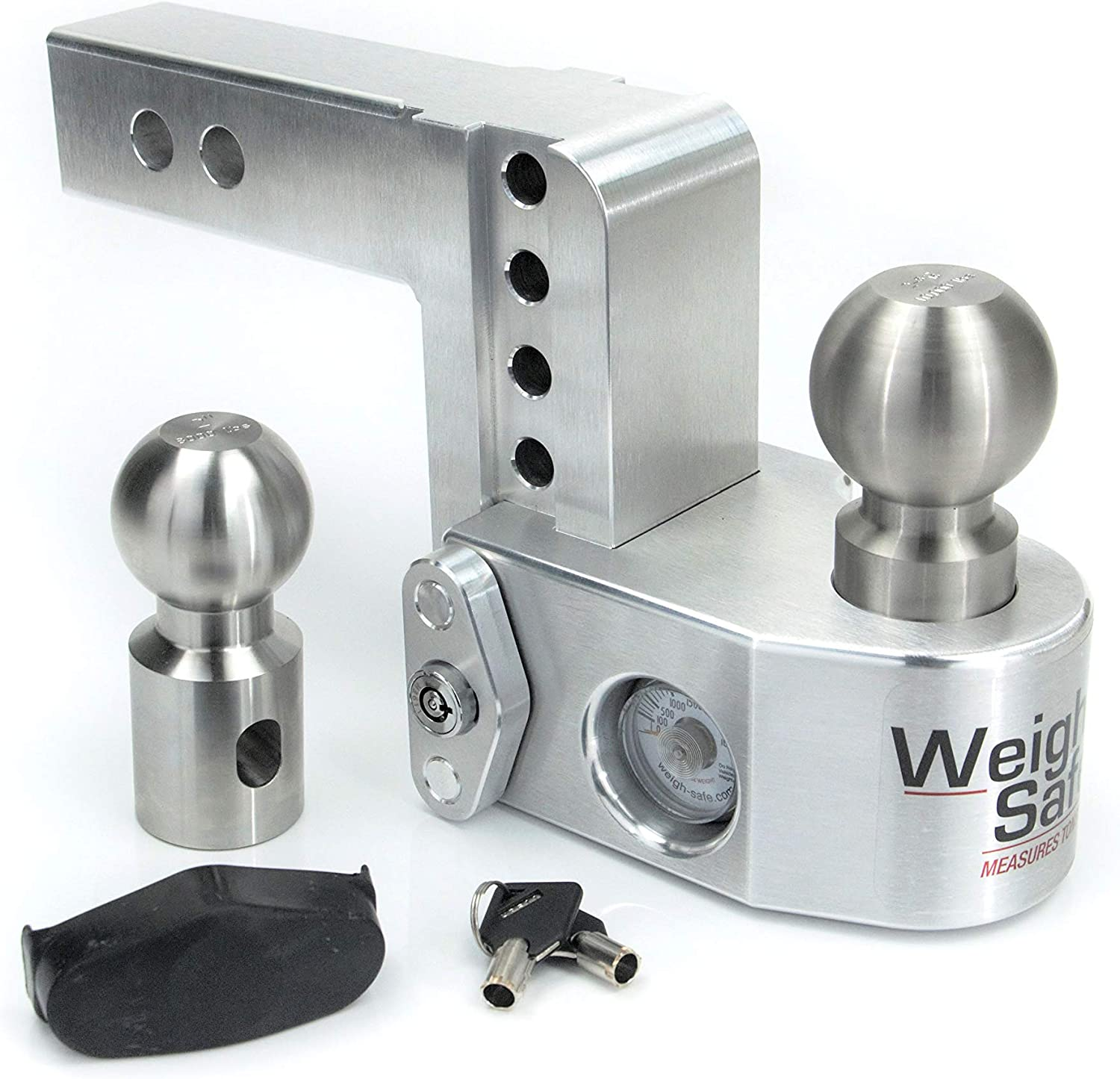 Adjustable Aluminum Trailer Hitch /& Ball Mount w// Built-in Scale 2 /& 2-5//16 2 Stainless Steel Balls Weigh Safe WS10-2 and a Double-pin Key Lock 10 Drop Hitch w// 2 Shank//Shaft