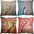 ZUEXT Pack of 4 Decorative 3D Oil Painting Trees Indoor Outdoor Pillow Cushion Cover Set, Cotton Linen Throw Pillow Covers for Sofa Bedroom Car Couch Bench, Square Pillowcases 18 x 18 Inch 45 x 45 cm