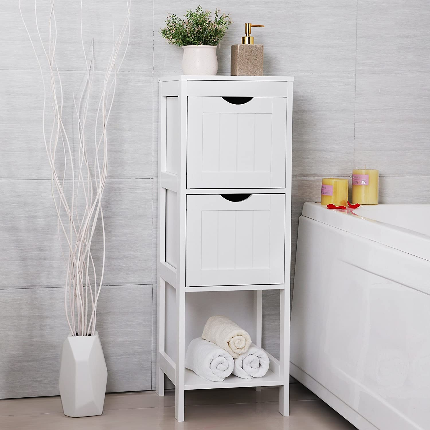 Slim White Bathroom Storage Bedside Cabinet Drawers Corner ...