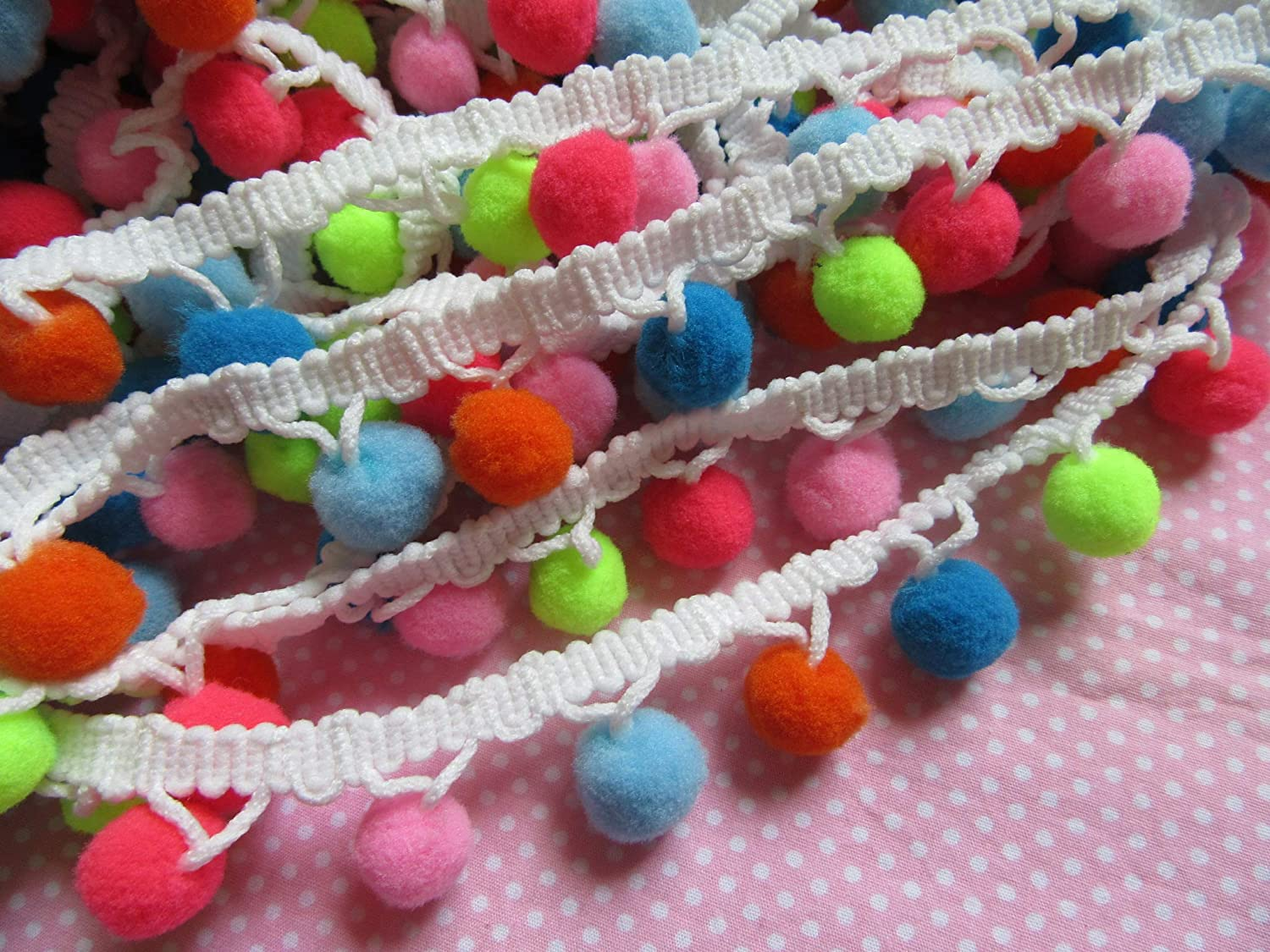 Pom Size:5//8 Inch,Style 1 YYCRAFT 5 Yards Multicolor Pom Pom Ball Fringe Trim Ribbon Sewing Lace for Clothing Curtain Pillow Accessory Decoration DIY Craft