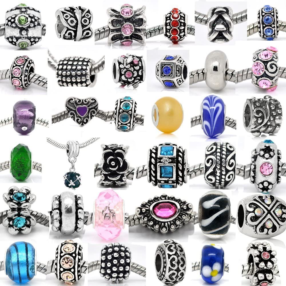 B00ZJO3GIA 30 Beads Mix of Assorted Charms,Rhinestones Bead Charms, Glass Beads and Metal Spacers 810RlUf9NPL