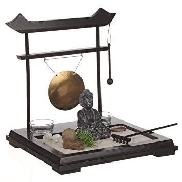 ZEN Garden Set: Buddha On Wooden Tray With Gong, 2 Candleholders, Flower And
