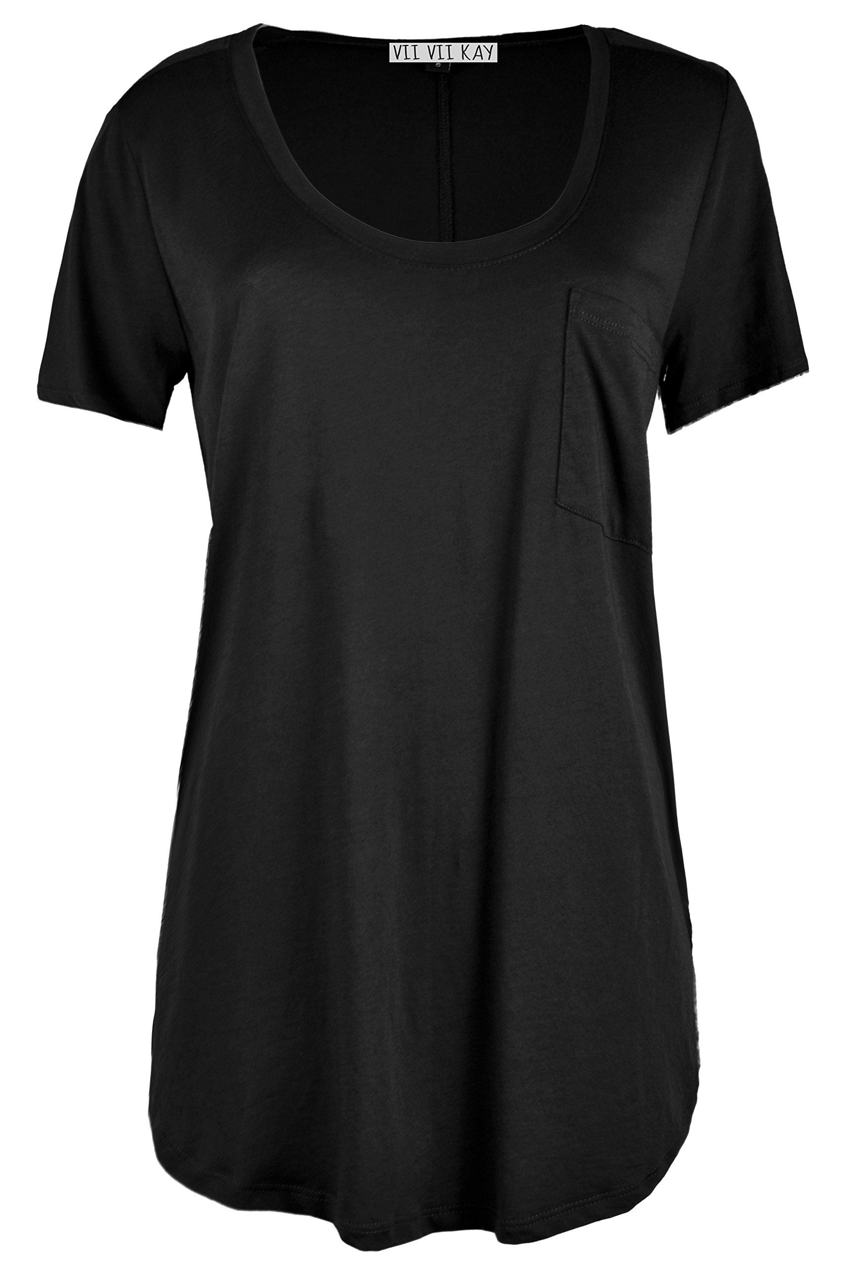 ViiViiKay VVK Women's Plus Size Crew or V-Neck Loose Fit Shortsleeve High & Low Hem Tops 10_Black 3XL