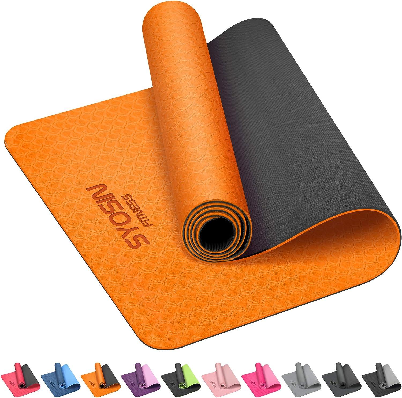 SYOSIN Yogamatte Pilates Heimtraining TPE Gymnastikmatte rutschfest Fitnessmatte f/ür Workout Umweltfreundlich /Übungsmatte Sportmatte f/ür Yoga 183 x 61 x 0.6CM