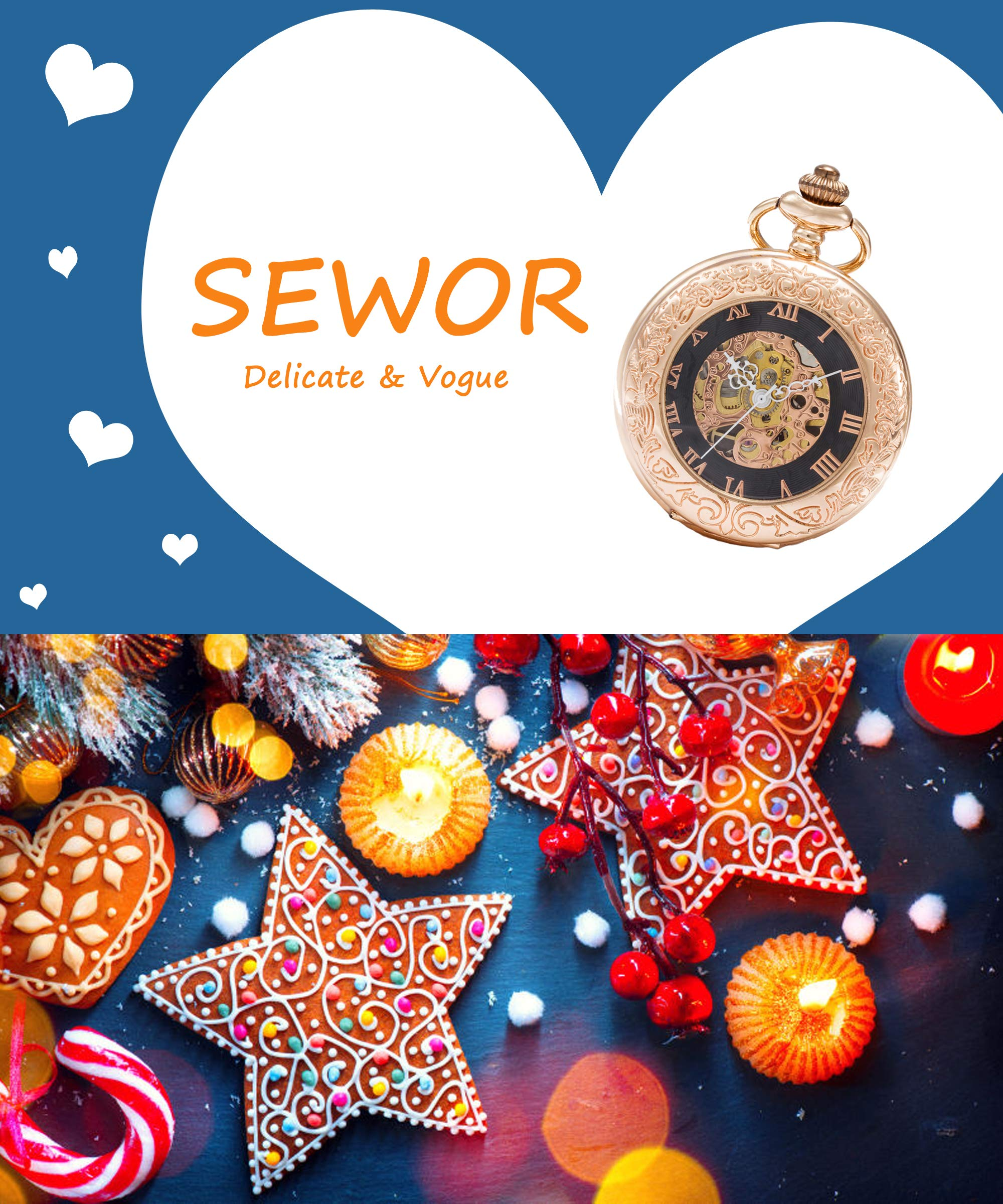 SEWOR Mens Dress Gentleman Vintage Magnifier Skeleton Pocket Watch Mechanical Hand Wind with Great Gift Box (Rose Gold Case)