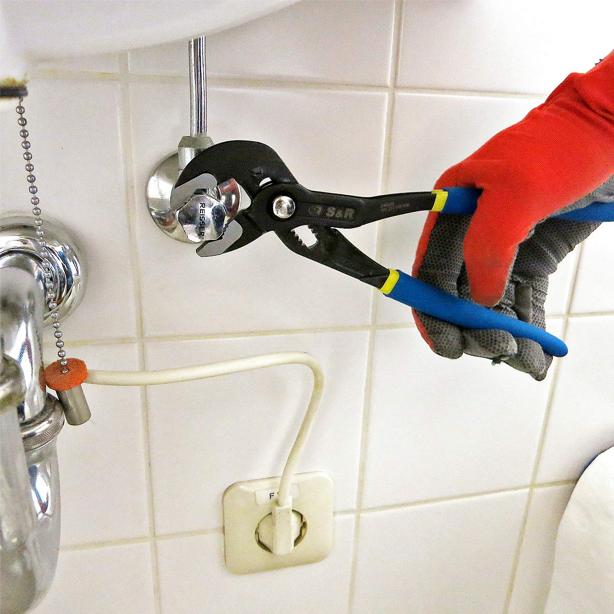 S/&R Wasserpumpenzange mit Schnelleinstellung-Mechanismus 175x25mm doppelt ummantelte Griffe CR-V