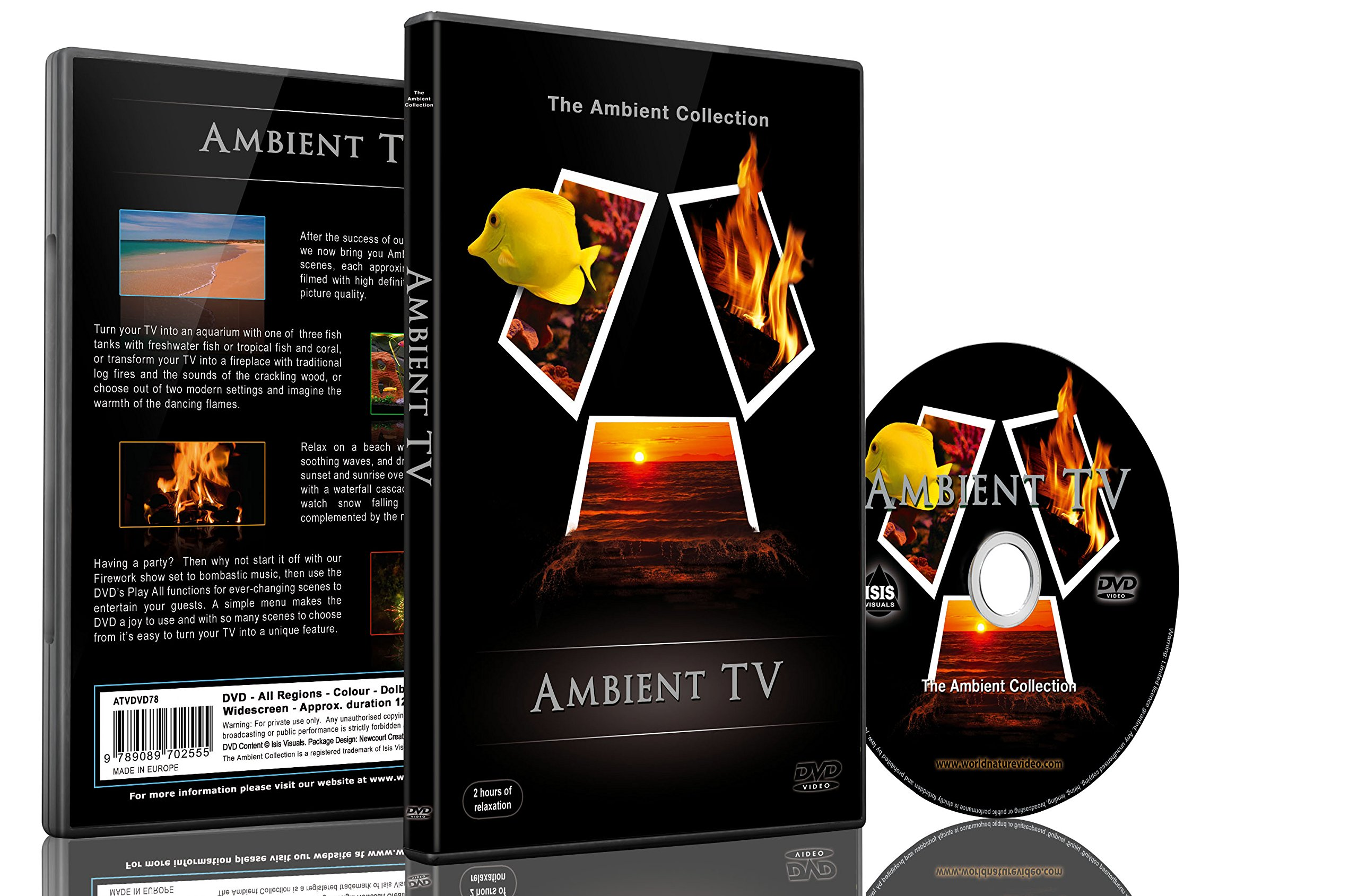 Background DVD-Ambient TV - 12 Scenes IN HD - Fireplaces-Aquariums-Fireworks-Nature Scenery