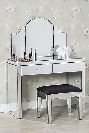 Furnituremaxi Coiffeuse En Verre Miroir Pour Chambre A
