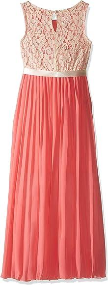 2382de79a Amazon.com: Emerald Sundae Girls' Big Coral Pleated Maxi Dress with ...