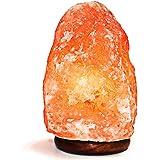 Natural Himalayan Salt Lamp. Hand Carved With Elegant Wood Base (Single Lamp)