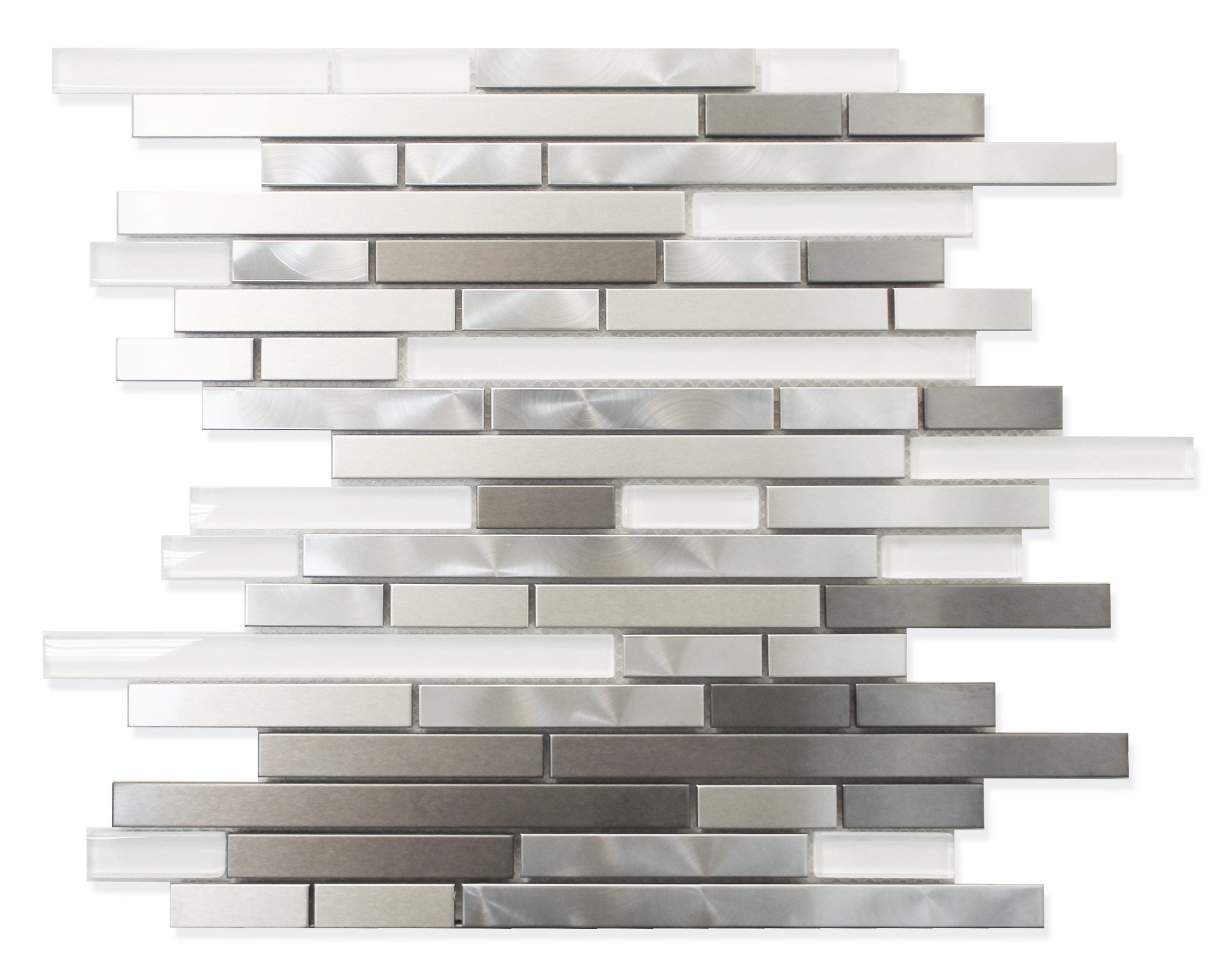 10 Square Feet - Super White Glass and Metal Strip Mosaic Tiles