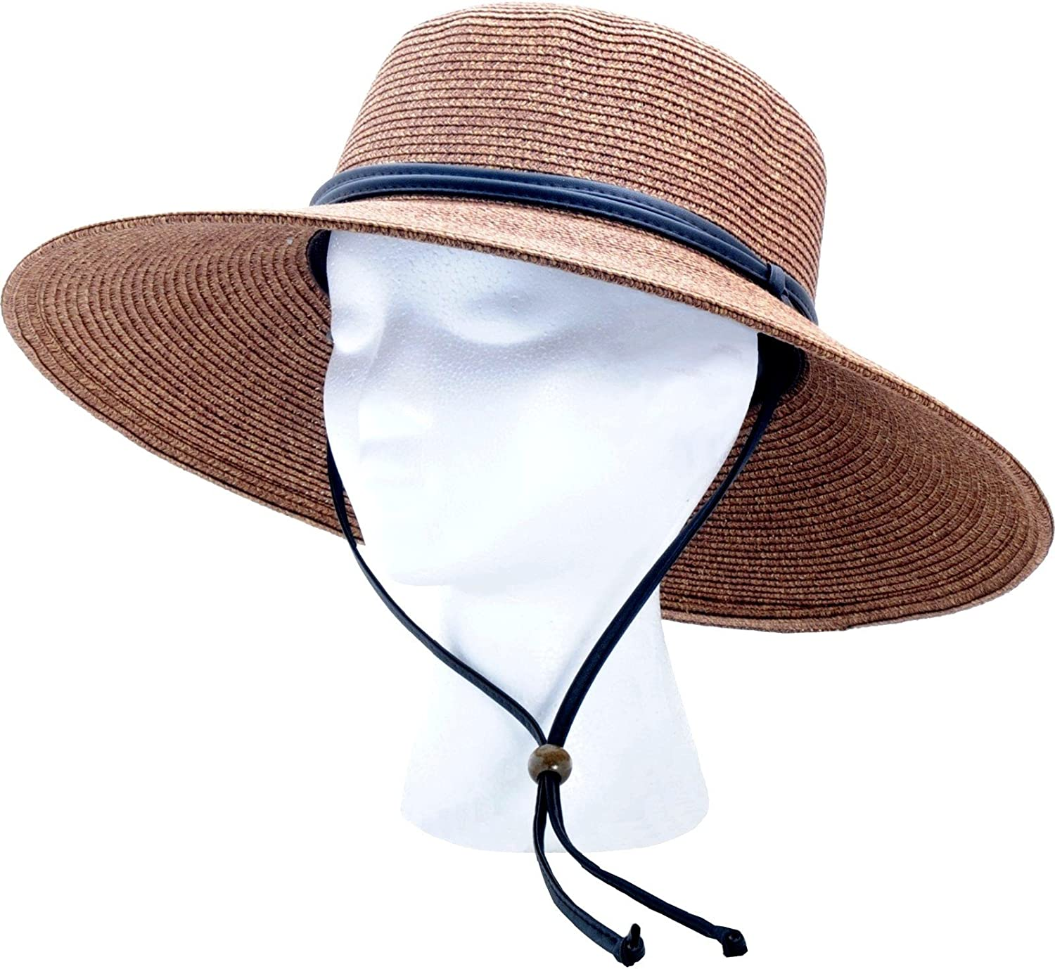 Sloggers Women's Wide Brim Braided Sun Hat with Wind Lanyard