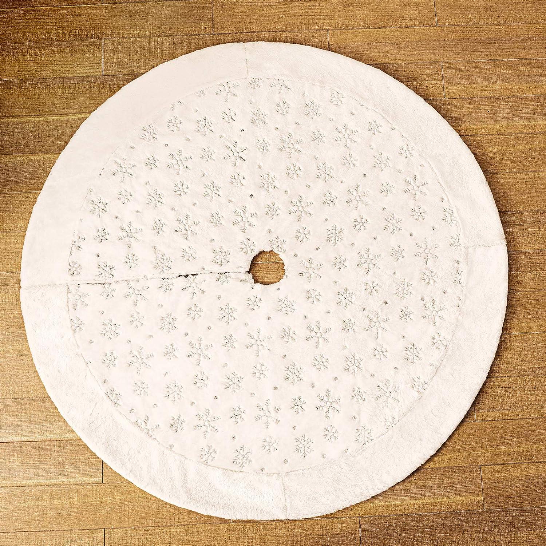 Plata, 90cm Henrey Tech N Faldas de /árbol de Navidad 122cm Piel sint/ética Blanca con Lentejuelas Plateadas Copo de Nieve Cubierta de Base de Alfombra para Decoraciones de /árboles de Navidad