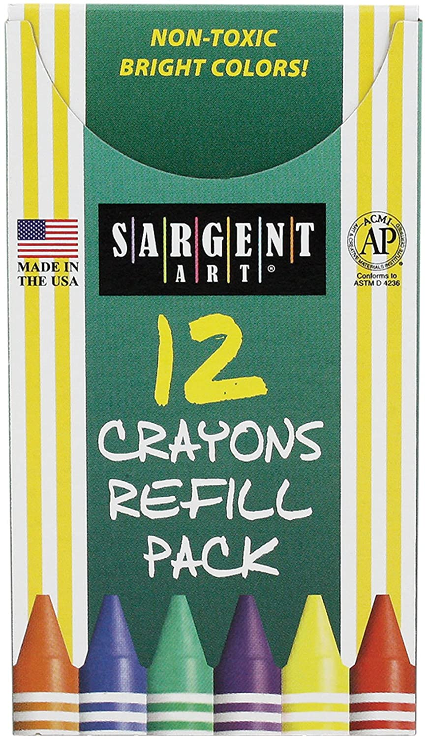 Sargent Art 22-0887 12-Count Tuck Box Standard Size Crayon Refill Peach