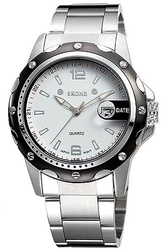 Skone Hombre Negro deportivos racer baratos analogico quartz reloj: Amazon.es: Relojes