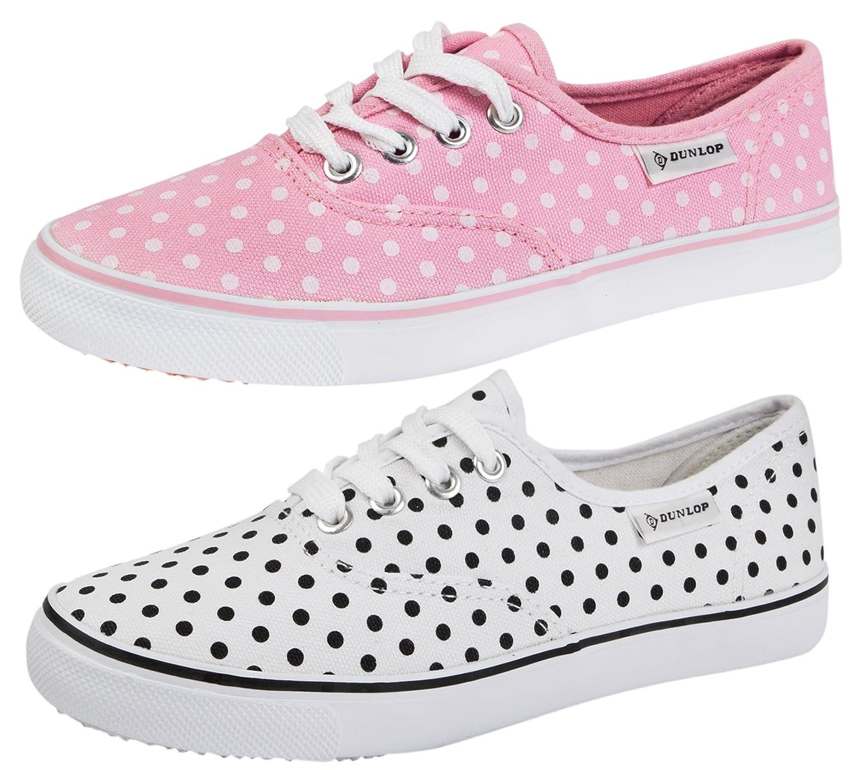 89a648768f4 DUNLOP PLIMSOLES PLIMSOLLS PUMPS SHOES TRAINERS CANVAS WOMENS POLKA DOT  WHITE SIZE 4  Amazon.co.uk  Shoes   Bags