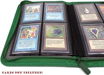Docsmagic.de Premium 4-Pocket Pro-Player Zip-Album Black MTG 160 Card Binder