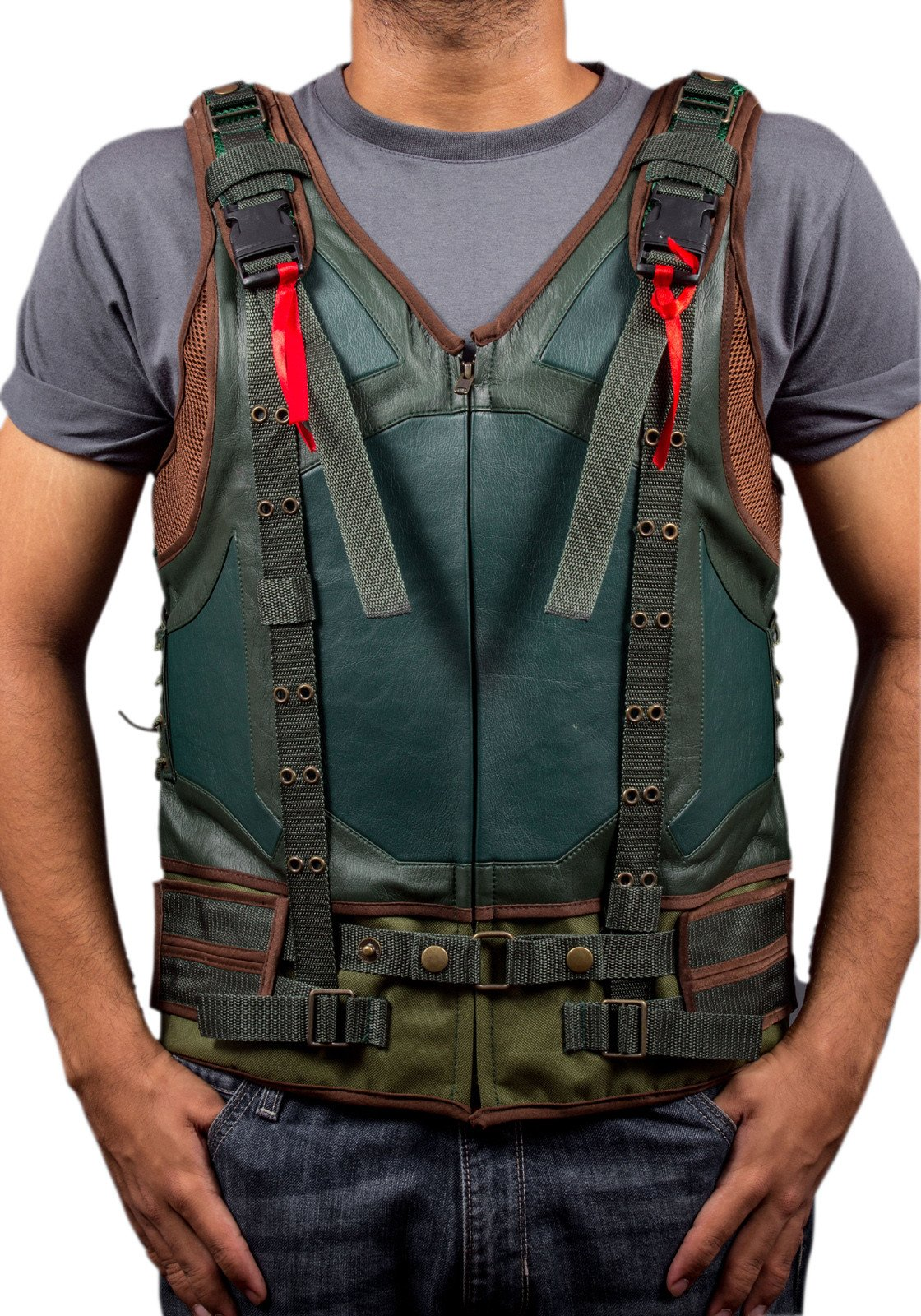 F&H Boy's Bane The DarkKnight Rises Synthetic Leather Vest M Green by Flesh & Hide