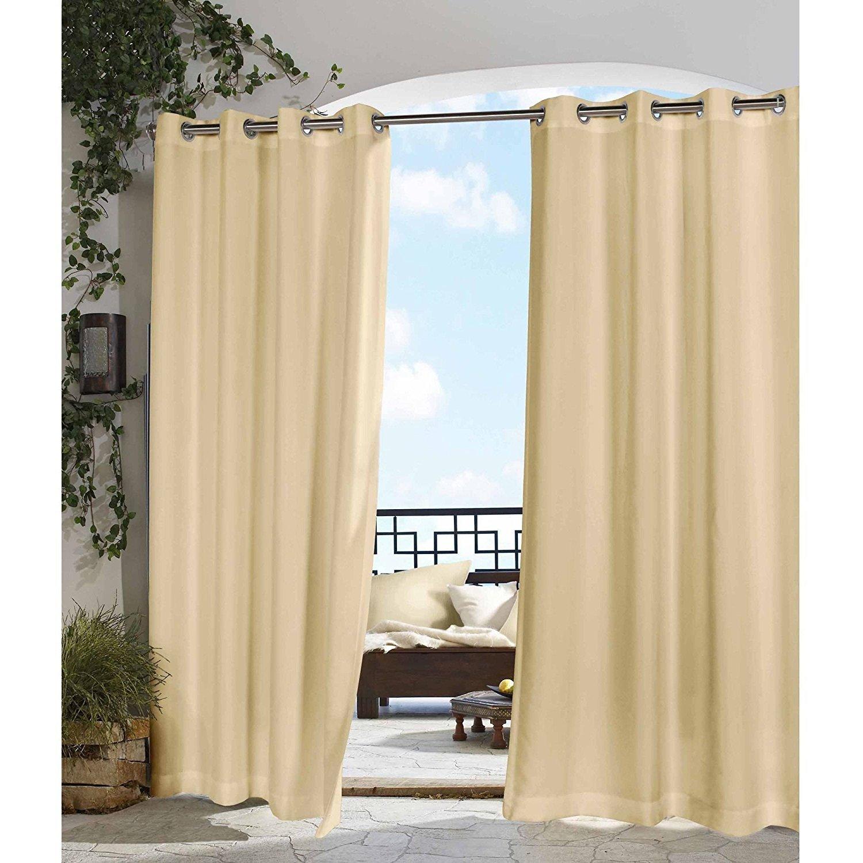 un 1pc 96 Outdoor Beige Solid Color Gazebo Curtain, Cabana Polyester, Indoor Patio Porch Deck Entrance Door Grommet Doorway Pergola Drapes, Light Brown Outside Window Treatment Single Panel