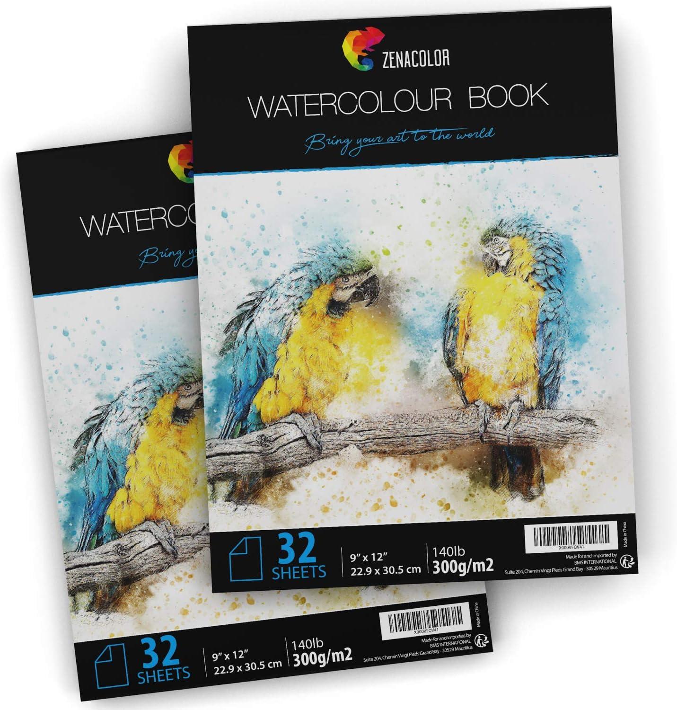 2 cuadernos papel acuareable 30x22 cm, zenacolor