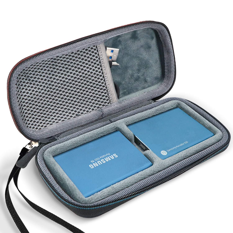 Funda R/ígida de Transporte para 2 Disco Duro Externo SSD 250GB 500GB 1TB 2TB SSD USB 3.1 Unidad Estado S/ólido Negro ProCase Estuche de Viaje para 2 Unidades de Samsung T5//T3