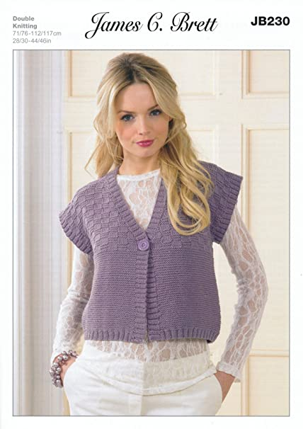 7c6fcc8ebc57a James Brett Double Knitting Pattern Womens Short Sleeved Square Design  Waistcoat Legacy DK (JB230)  Amazon.co.uk  Kitchen   Home