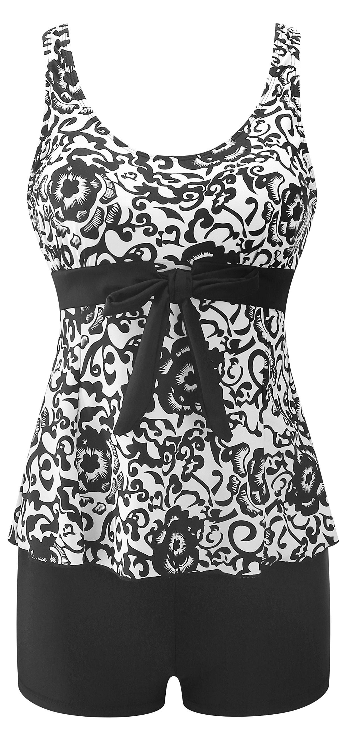 1e4bda255e128 Galleon - Wantdo Women's High Waisted Swimsuit Modest Bathing Suit Cover Up  Swimwear Black&White US 16-18