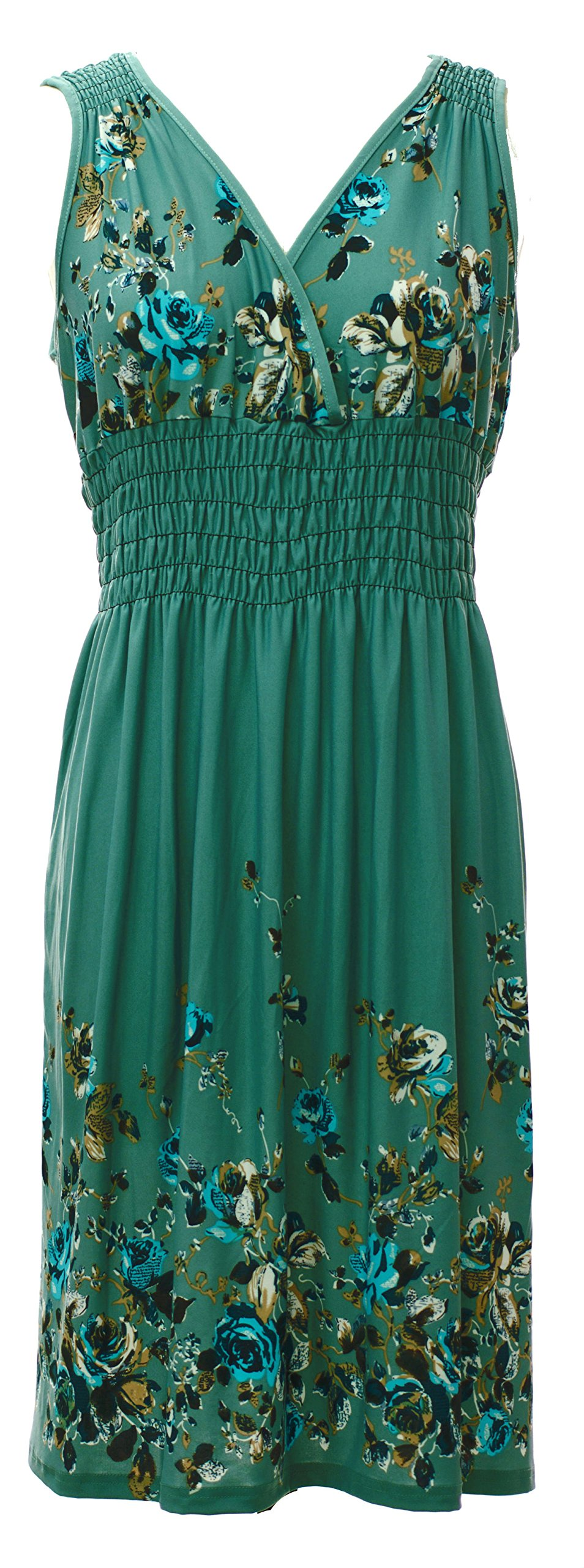 Plum Feathers Vibrant V-Neck Knee Length Dress - Assorted Styles Plus & Regular Sizes Soft Floral Green 1X