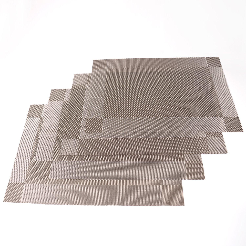 プレースマット、のみSupermarket耐熱プレースマット汚れ防止滑り防止洗濯可能Textileneテーブルマット織ビニールプレースマット、4のセット(シルバー)   B079HRP7X4