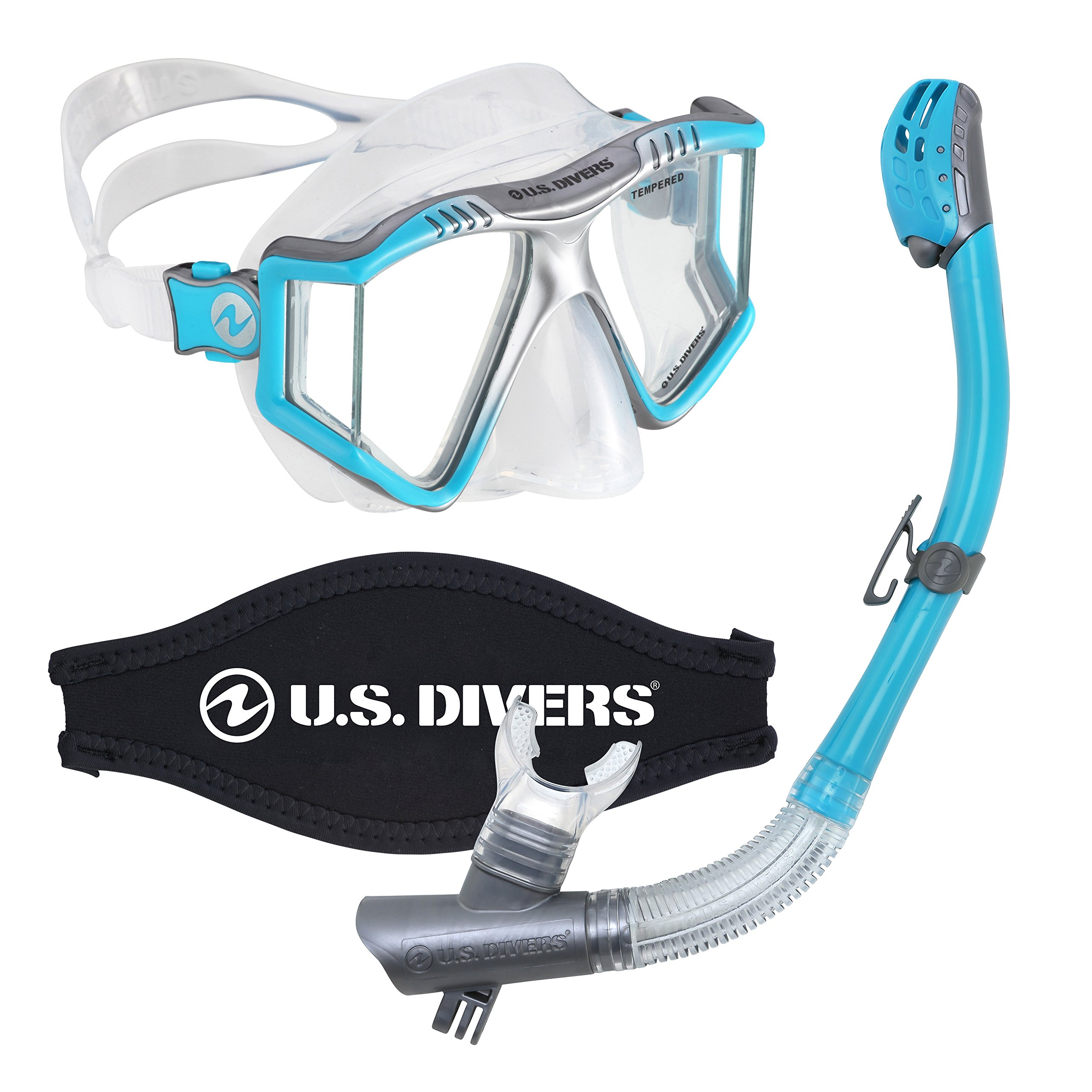 U.S. Divers Lux Mask Snorkel Combo With Mount Compatible with GoPro Cameras Aqua by U.S. Divers