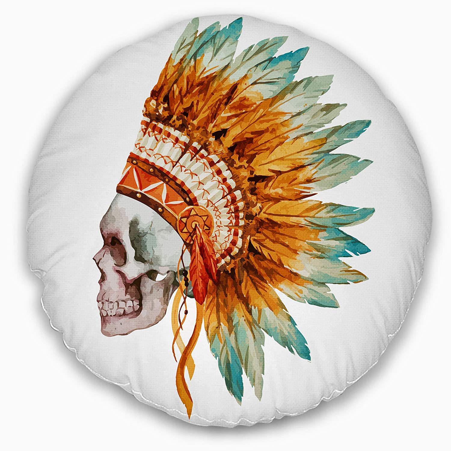 Designart CU6636-16-16-C Skull with Feathers Abstract Round Cushion Cover for Living Room Insert Printed On Both Side Sofa Throw Pillow 16