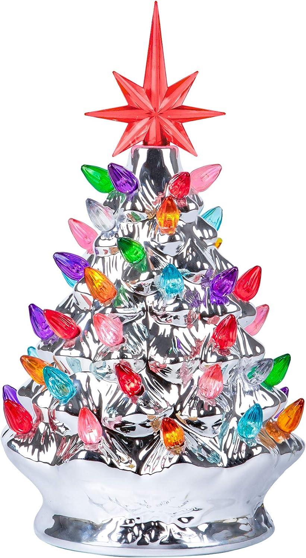RJ Legend 9.6-Inch Silver Christmas Mini Ceramic Tree – Festive Lighted Christmas Tree Décor – Vintage Tabletop Christmas Decorations – Retro Winter Tree - Shiny Holidays Décor