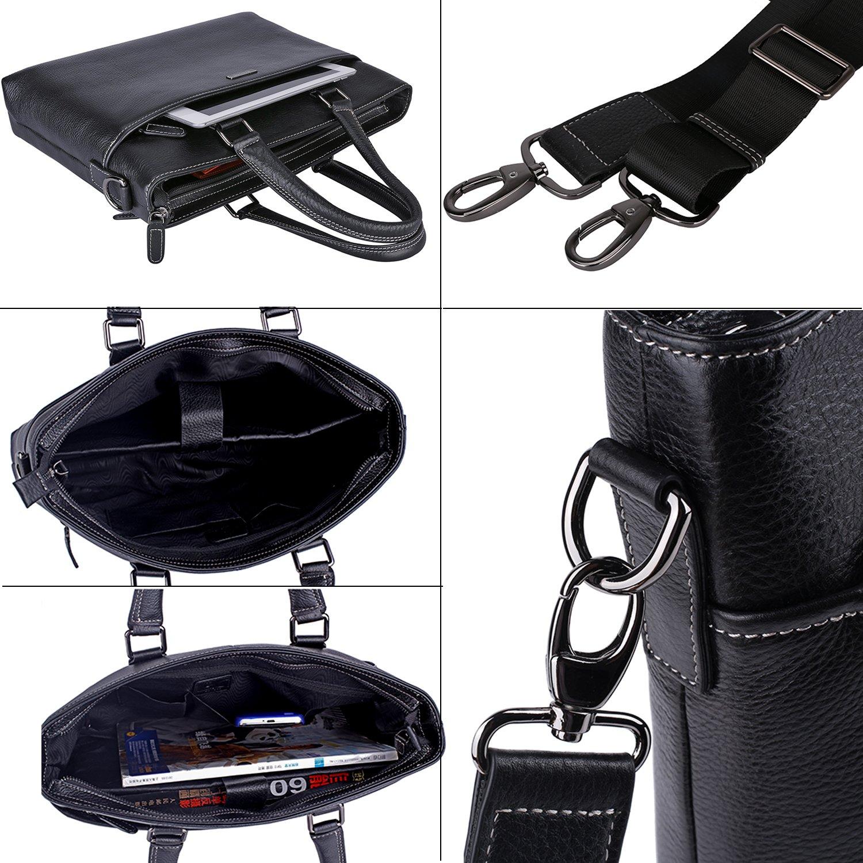 Banuce Genuine Leather Briefcase for Men Women Shoulder Messenger Bag Executive Bussiness Tote Laptop Bag by Banuce (Image #4)