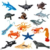 Liberty Imports Large Deep Sea Animals | Ocean Underwater Creatures | Realistic Plastic Marine Toy Figures | Educational Toys for Toddlers, Kids (16 Piece Set)