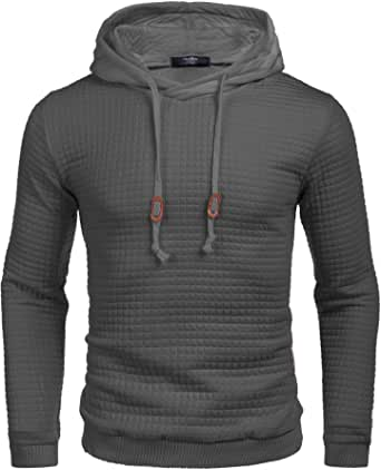 COOFANDY Men's Sweatshirt Hipster Gym Long Sleeve Drawstring Hooded Plaid Jacquard Pullover Hoodies