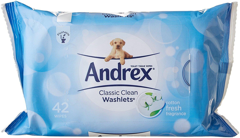 Andrex Washlets Flushable toallitas de papel higiénico, Classic Clean: Amazon.es: Salud y cuidado personal