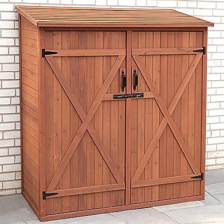 Garden Wooden Cabinet Storage Shelf Shed Box Waterproof Outdoor Backyard Tool